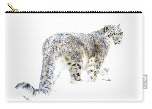 Snow Leopard On White Carry-all Pouch