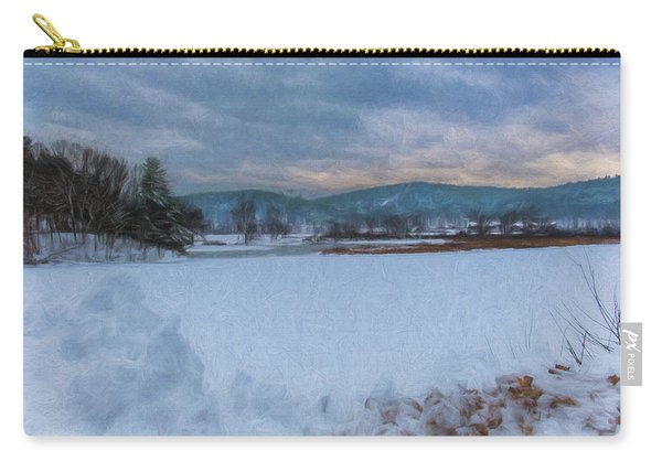 Carry-all Pouch featuring the photograph Snow On The West River by Tom Singleton