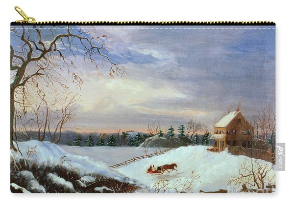 Snow Scene In New England Carry-all Pouch