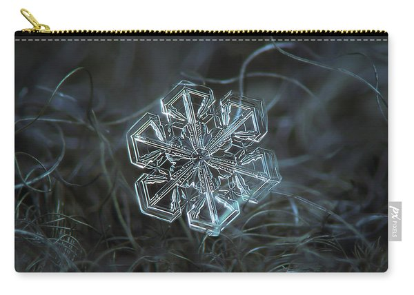 Carry-all Pouch featuring the photograph Snowflake Photo - Alcor by Alexey Kljatov