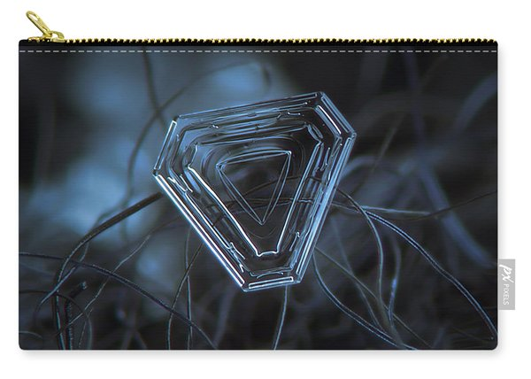 Carry-all Pouch featuring the photograph Snowflake Photo - Almost Triangle by Alexey Kljatov