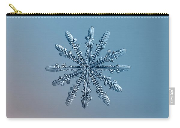 Carry-all Pouch featuring the photograph Snowflake Photo - Chrome by Alexey Kljatov