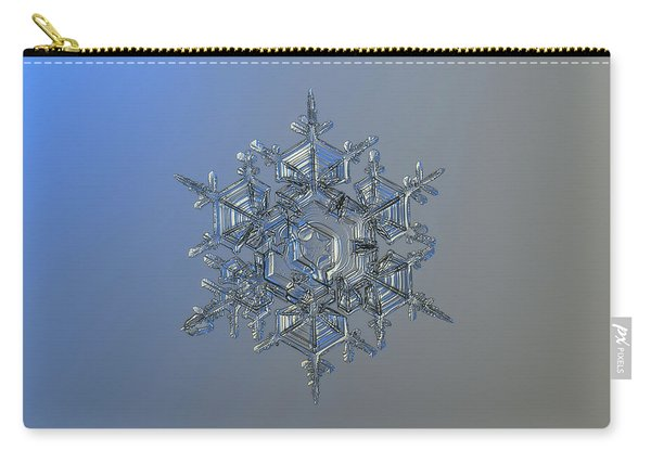 Carry-all Pouch featuring the photograph Snowflake Photo - Crystal Of Chaos And Order by Alexey Kljatov