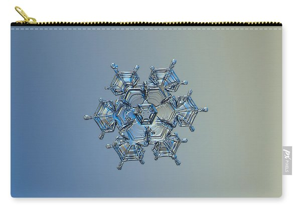 Carry-all Pouch featuring the photograph Snowflake Photo - Flying Castle Alternate by Alexey Kljatov