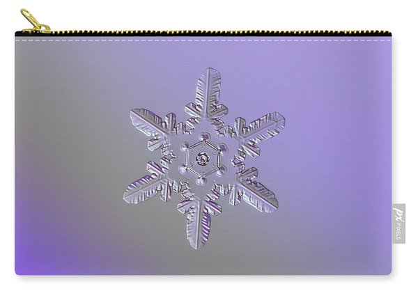 Carry-all Pouch featuring the photograph Snowflake Photo - Heart-powered Star by Alexey Kljatov