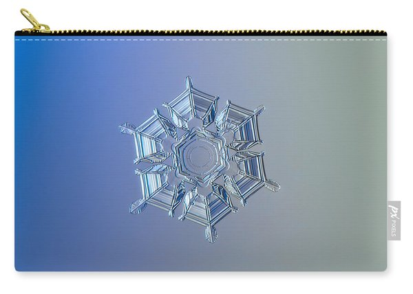 Carry-all Pouch featuring the photograph Snowflake Photo - Ice Relief by Alexey Kljatov