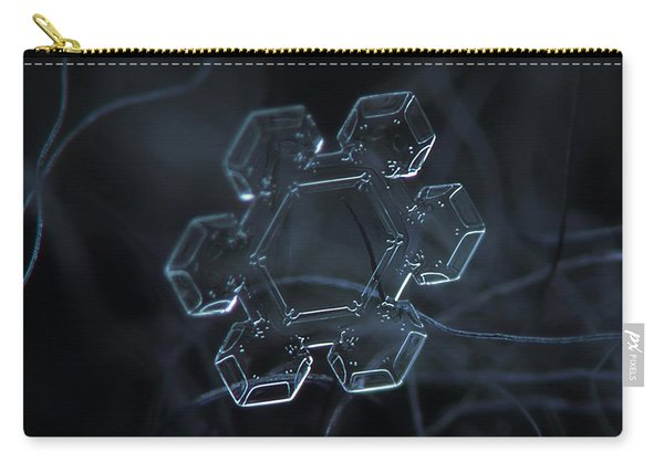 Carry-all Pouch featuring the photograph Snowflake Photo - Jewel by Alexey Kljatov