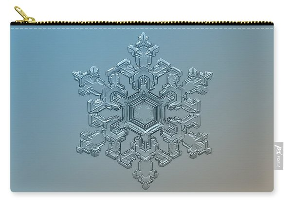 Carry-all Pouch featuring the photograph Snowflake Photo - Ornate Pattern by Alexey Kljatov