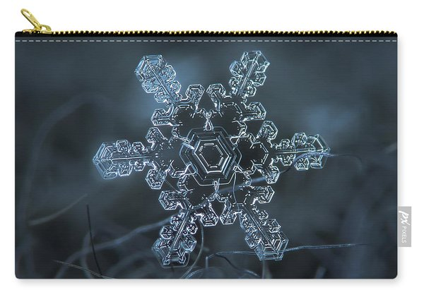 Carry-all Pouch featuring the photograph Snowflake Photo - Slight Asymmetry by Alexey Kljatov