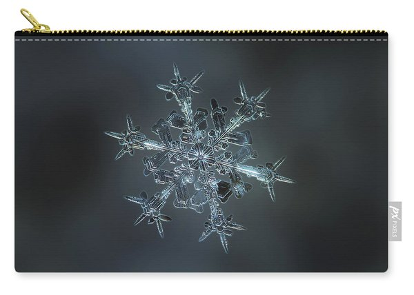 Carry-all Pouch featuring the photograph Snowflake Photo - Starlight II by Alexey Kljatov