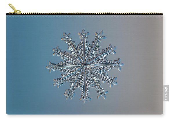 Carry-all Pouch featuring the photograph Snowflake Photo - Wheel Of Time by Alexey Kljatov