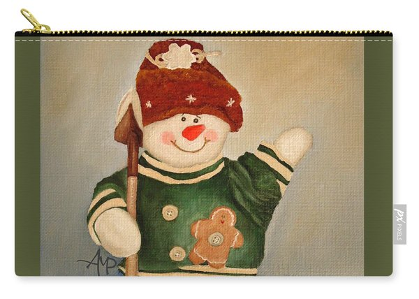 Carry-all Pouch featuring the painting Snowman Junior by Angeles M Pomata