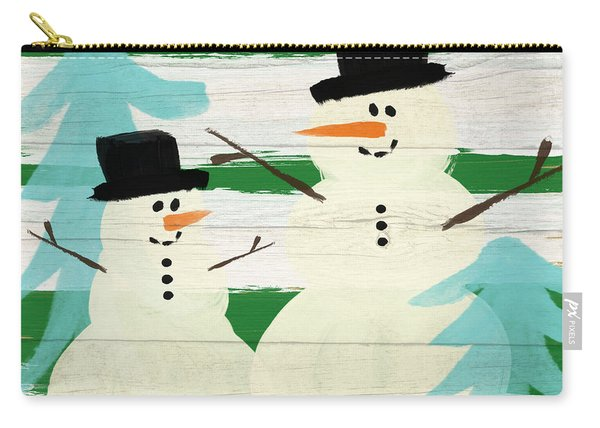 Snowmen With Blue Trees- Art By Linda Woods Carry-all Pouch