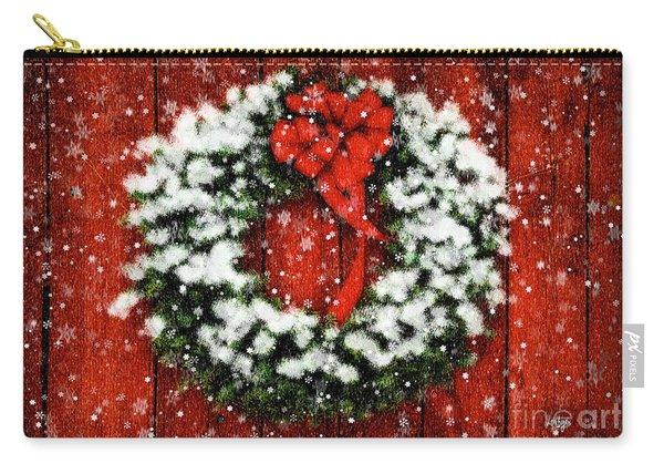 Snowy Christmas Wreath Carry-all Pouch