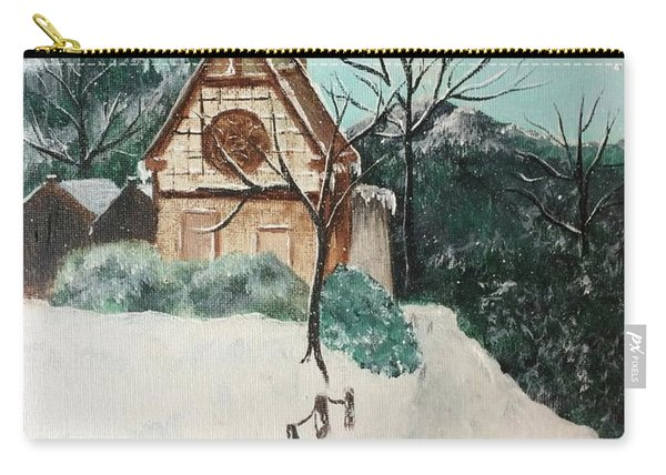 Carry-all Pouch featuring the painting Snowy Daze by Denise Tomasura