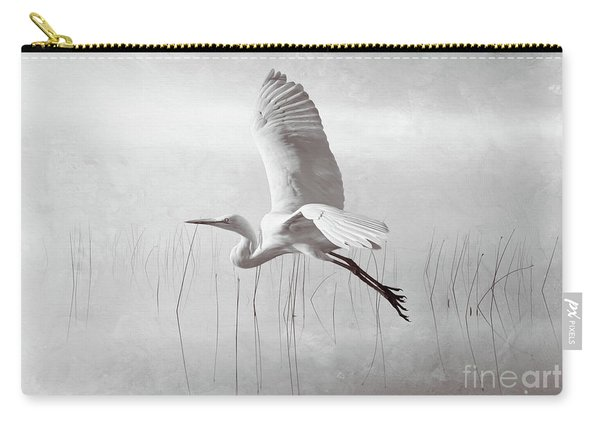 Snowy Egret Morning Bw Carry-all Pouch