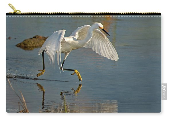 Snowy Egret On The Move Carry-all Pouch