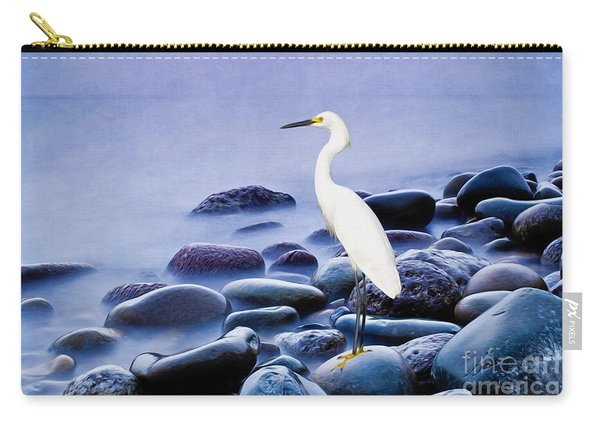 Snowy Egret On The Rocks Carry-all Pouch