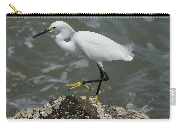 Snowy Egret Rock Walking Carry-all Pouch