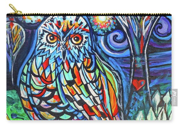 Snowy Owl Abstract With Moon Carry-all Pouch