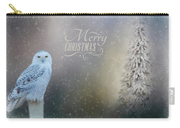 Snowy Owl Christmas Greeting Carry-all Pouch