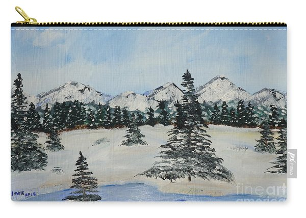 Carry-all Pouch featuring the painting Snowy Winter by Jimmy Clark