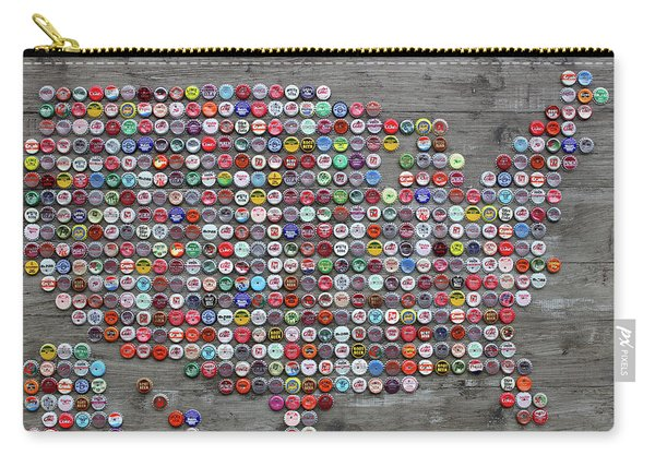 Soda Pop Bottle Cap Map Of The United States Of America Carry-all Pouch