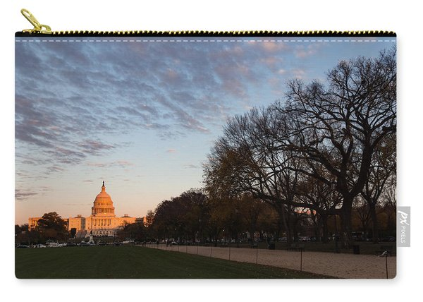 Soft Orange Glow - U S Capitol And The National Mall At Sunset Carry-all Pouch