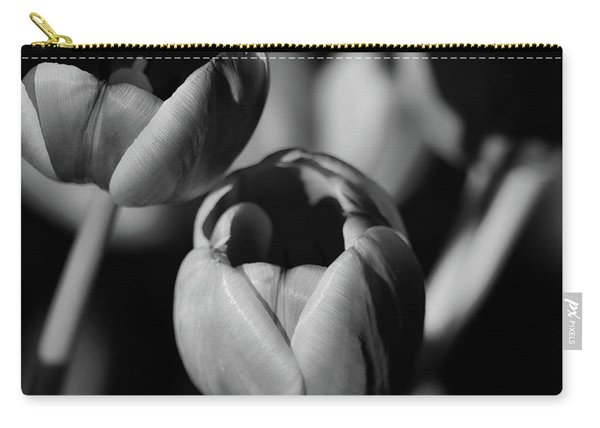 Soft Tulips B And W Carry-all Pouch
