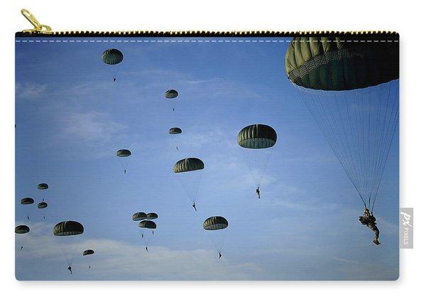 Soldiers Descend Under A Parachute Carry-all Pouch