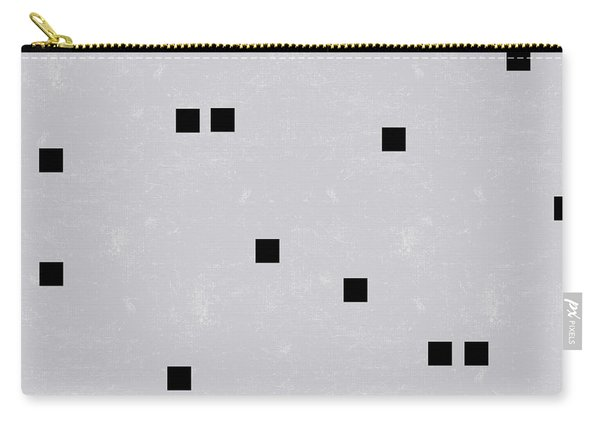Sophisticated Decor Pattern, Black Square Confetti, Grey Linen Texture Carry-all Pouch