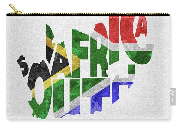 South Africa Typographic Map Flag Carry-all Pouch