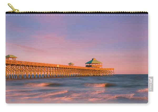 Carry-all Pouch featuring the photograph South Carolina Fishing Pier At Sunset Panorama by Ranjay Mitra