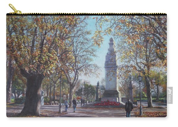 Carry-all Pouch featuring the painting Southampton Cenotaph Autumn by Martin Davey