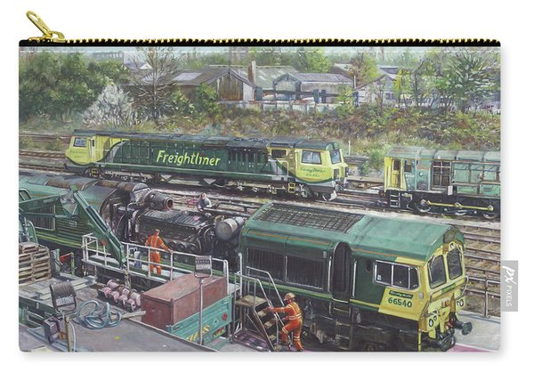 Carry-all Pouch featuring the painting Southampton Freightliner Train Maintenance by Martin Davey