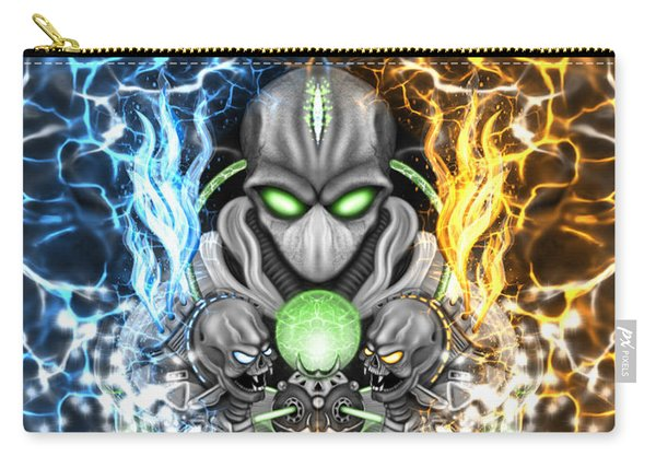 Carry-all Pouch featuring the painting Space Alien Time Machine Fantasy Art by Raphael Lopez
