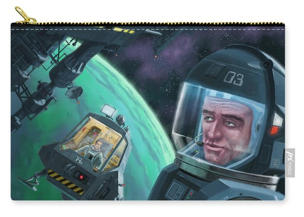 Carry-all Pouch featuring the digital art Spaceman With Space Station Orbiting Green Planet by Martin Davey
