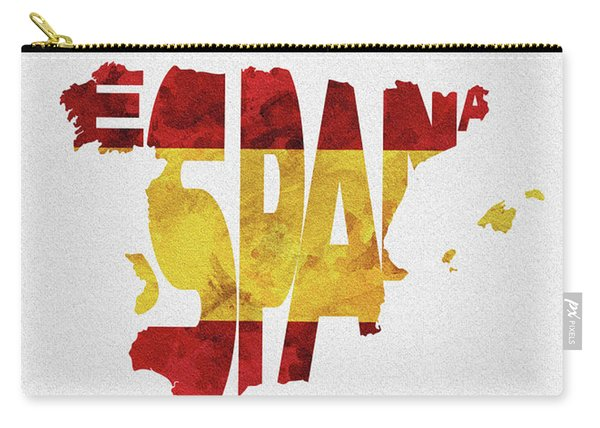 Spain Typographic Map Flag Carry-all Pouch