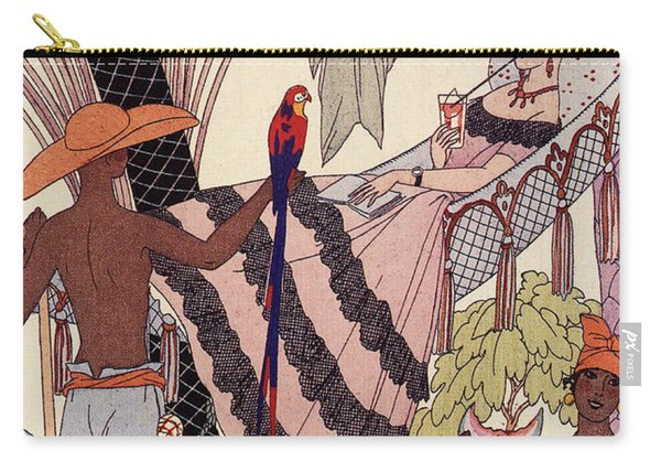 Spanish Lady In Hammock With Parrot Carry-all Pouch