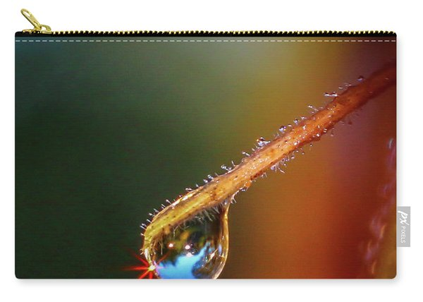 Carry-all Pouch featuring the photograph Sparkling Drop Of Dew by Tom Claud