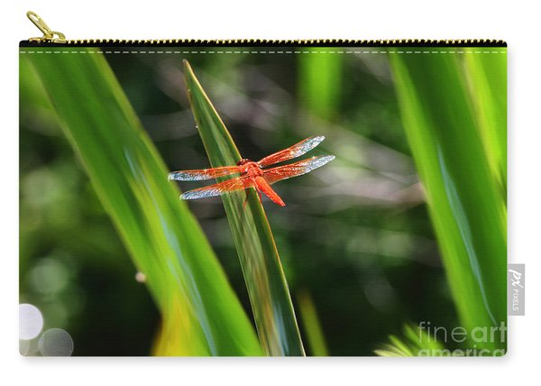 Sparkling Red Dragonfly Carry-all Pouch