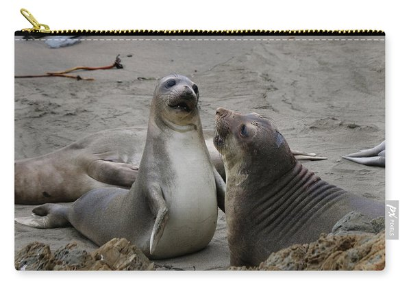 Carry-all Pouch featuring the photograph Sparring Seals  by Christy Pooschke