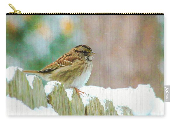 Sparrow On A Snowy Day  Carry-all Pouch