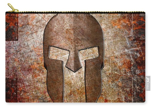 Spartan Helmet On Rusted Riveted Metal Sheet Carry-all Pouch