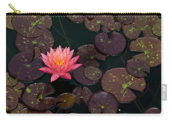 Speckled Red Lily And Pads Carry-all Pouch