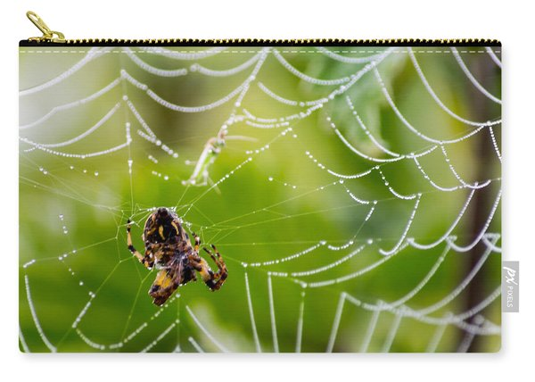 Spider And Spider Web With Dew Drops 05 Carry-all Pouch