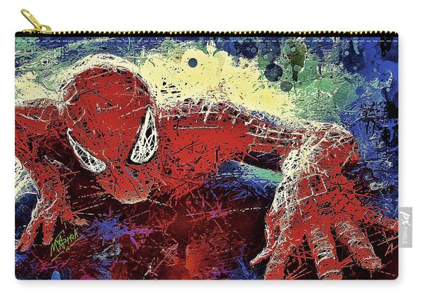 Carry-all Pouch featuring the mixed media Spiderman Climbing  by Al Matra