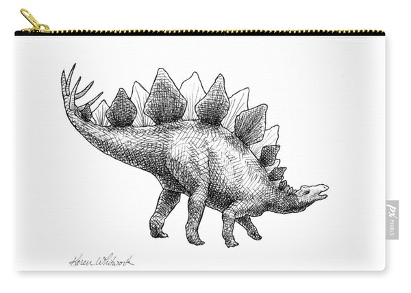 Stegosaurus - Dinosaur Decor - Black And White Dino Drawing Carry-all Pouch