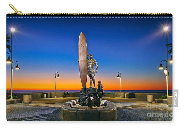 Carry-all Pouch featuring the photograph Spirit Of Imperial Beach Surfer Sculpture by Sam Antonio