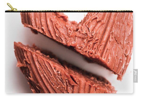 Split Hearts Chocolate Fudge On White Plate Carry-all Pouch